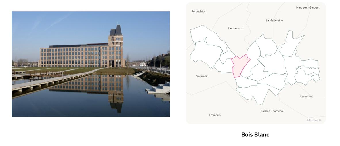 Euratechnologies dans le quartier Bois Blanc à Lille ⎮ Carte des quartiers de Lille