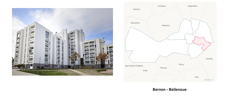 Logements du secteur Bernon Bellenoue ⎮ Carte des quartiers d'Epernay