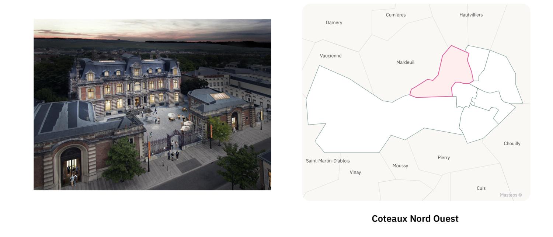Musée du Champagne dans le Coteaux Nord Ouest ⎮ Carte des quartiers d'Epernay