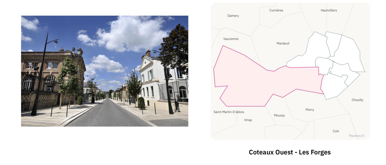 Rue du secteur Coteaux Ouest Les Forges ⎮ Carte des quartiers d'Epernay