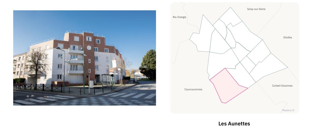 Secteur les Aunettes ⎮ Carte des quartiers d'Evry