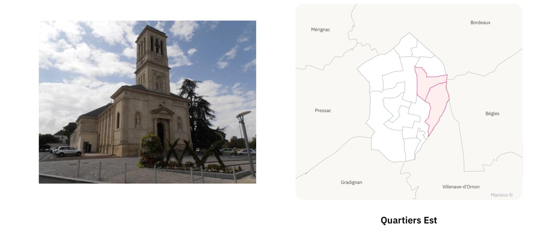 Eglise du secteur Est de Talence ⎮ Carte des quartiers de Talence