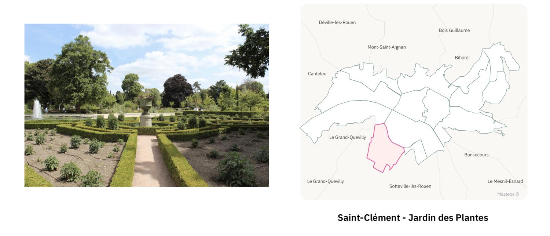 Secteur Saint-Clément Jardin des Plantes ⎮ Carte des quartiers de Rouen