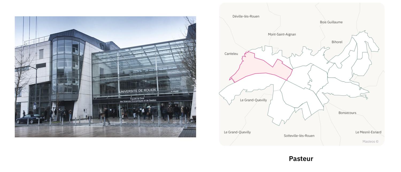 Université Pasteur ⎮ Carte des quartiers de Rouen