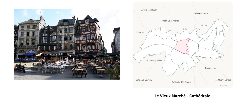 Vieux Marché secteur Cathédrale ⎮ Carte des quartiers de Rouen