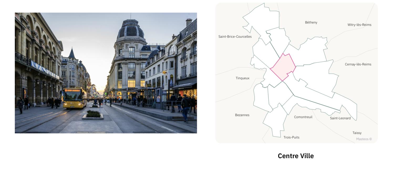 Centre ville de Reims ⎮ Carte des quartiers de Reims