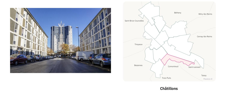 Logements secteur Châtillons ⎮ Carte des quartiers de Reims