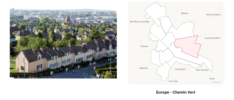 Logements secteur Europe Chemin Vert ⎮ Carte des quartiers de Reims