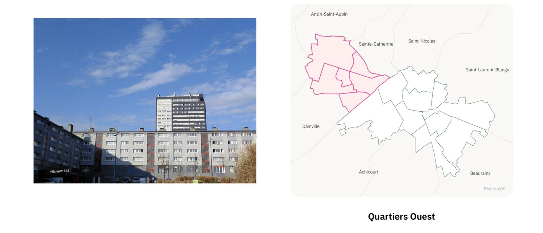 Secteur Ouest d'Arras ⎮ Carte des quartiers d'Arras