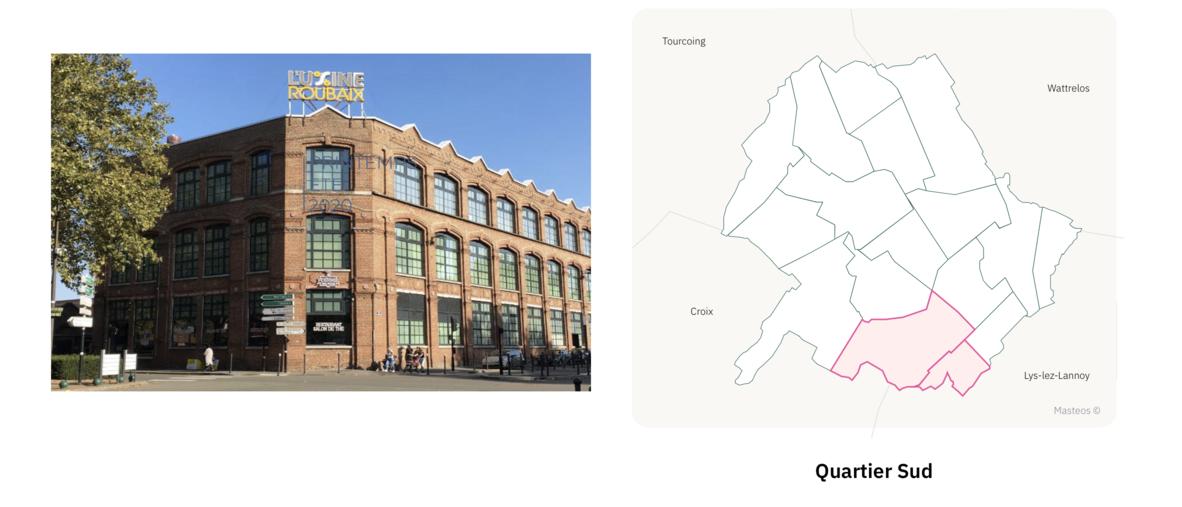 L'Usine secteur sud de Roubaix ⎮ Carte des quartiers de Roubaix