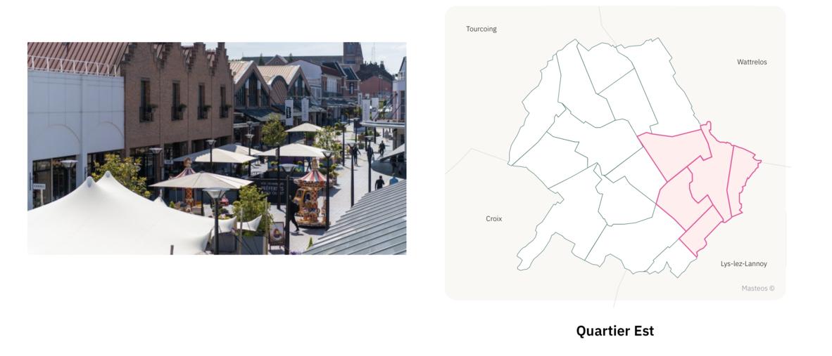 Centre commercial du secteur Est ⎮ Carte des quartiers de Roubaix