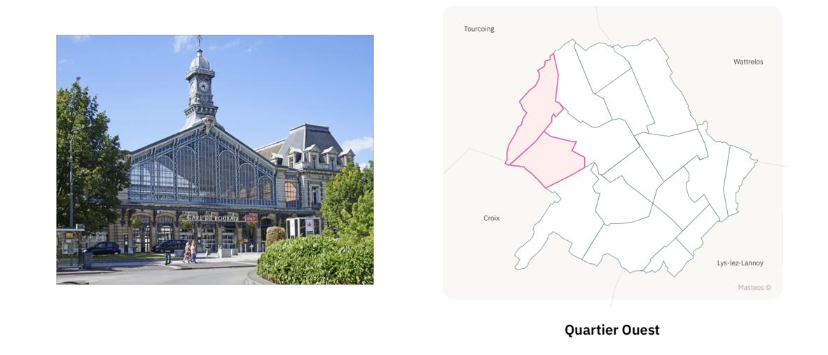 Garde SNCF de Roubaix ⎮ Carte des quartiers de Roubaix