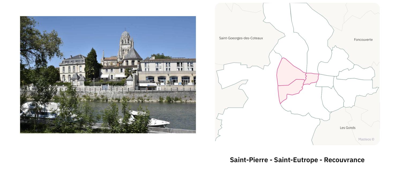 Quartier Saint-Pierre Saint-Eutrope Recouvrance ⎮ Carte des quartiers de Saintes