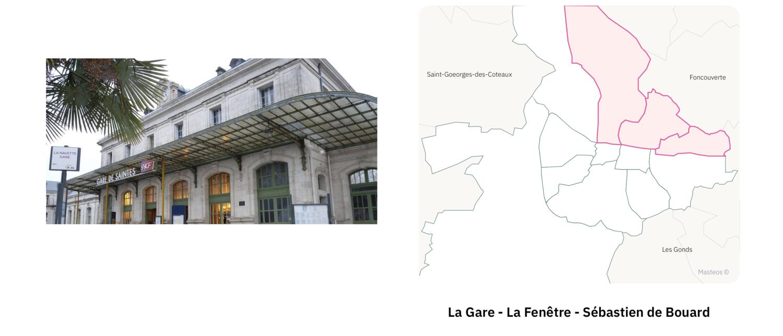 Garre SNCF de Saintes ⎮ Carte des quartiers de Saintes
