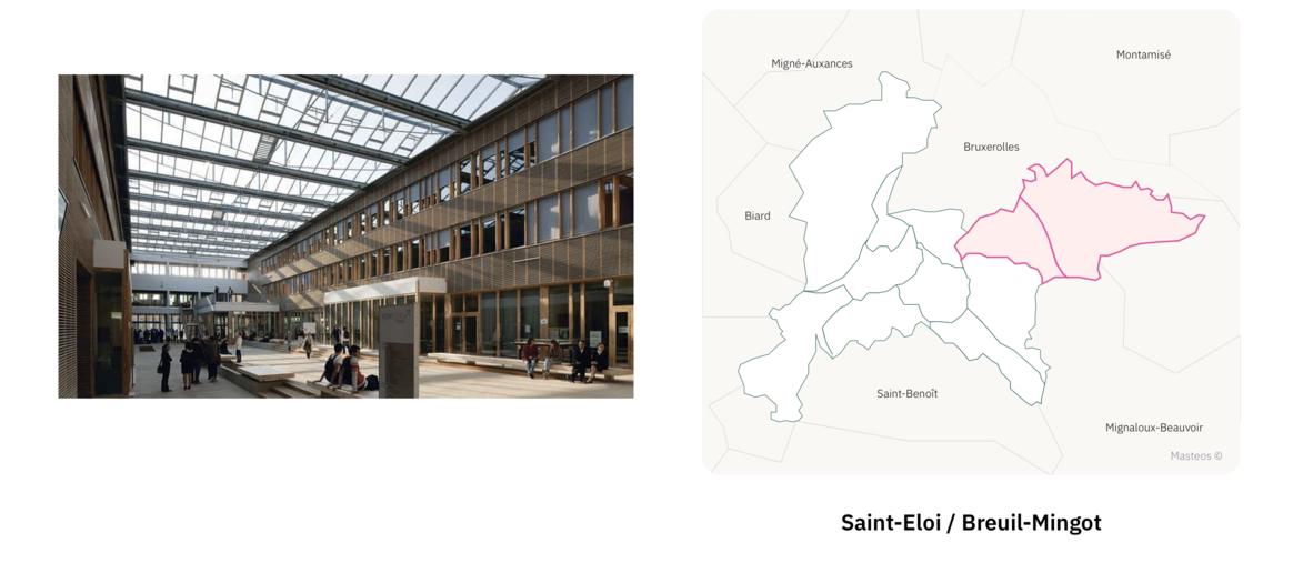 Lycée Kyoto secteur Saint-Eloi et Breuil-Mingot ⎮ Carte des quartiers de Poitiers
