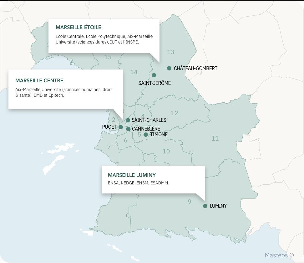 Carte des campus étudiants de Marseille, ville où investir.