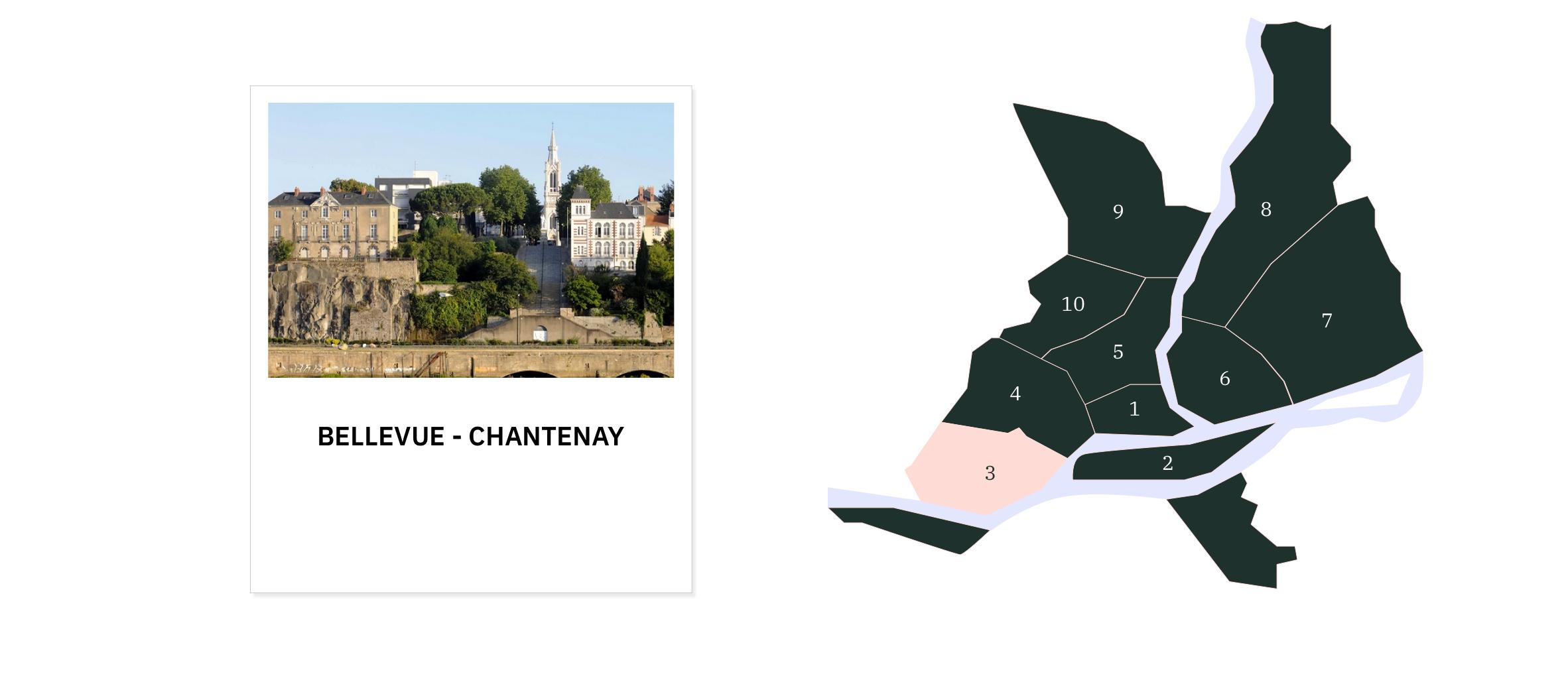 Bellevue • Chantenay • Sainte-Anne ⎜Carte des quartiers de Nantes