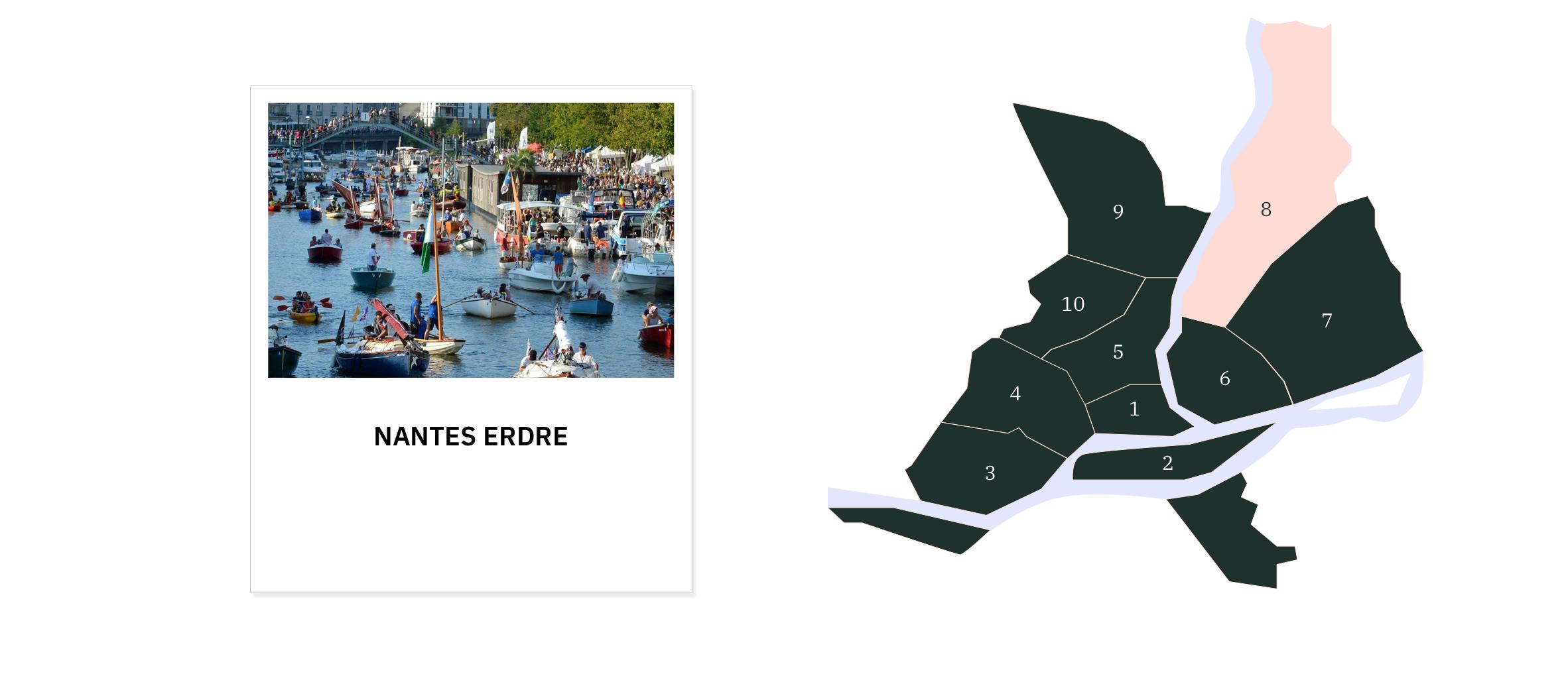 Nantes Erdre ⎜Carte des quartiers de Nantes