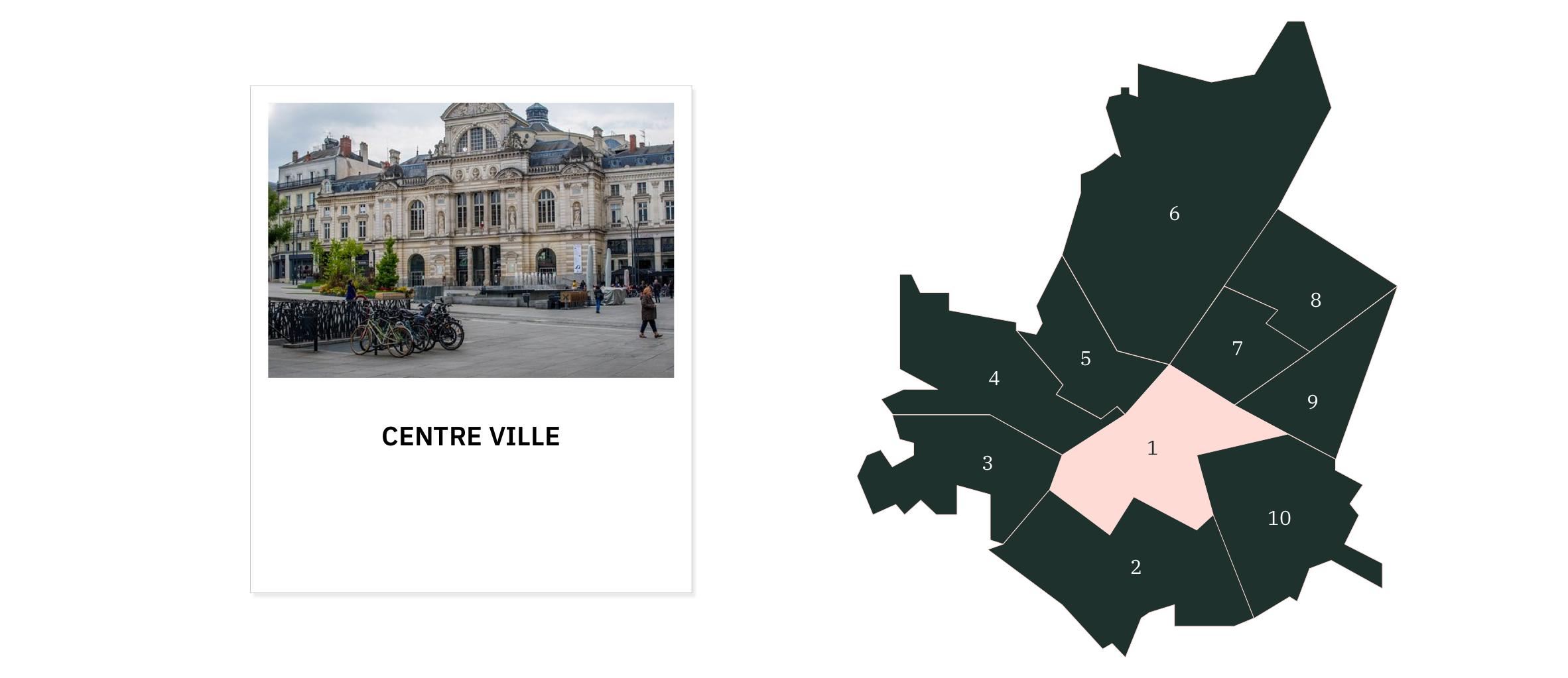 Centre-ville⎜Carte des quartiers d'Angers