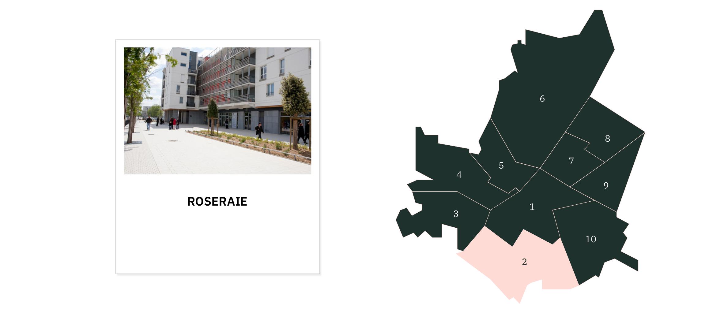 La Roseraie⎜Carte des quartiers d'Angers