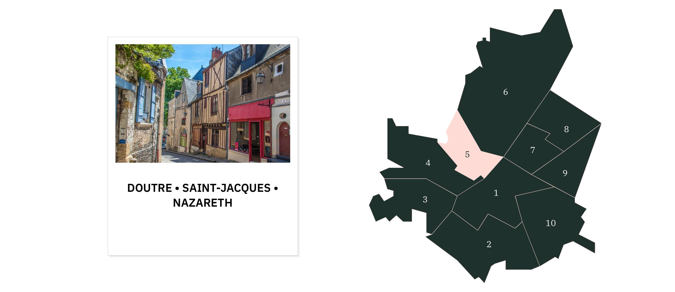 Doutre Saint-Jacques Nazareth⎜Carte des quartiers d'Angers