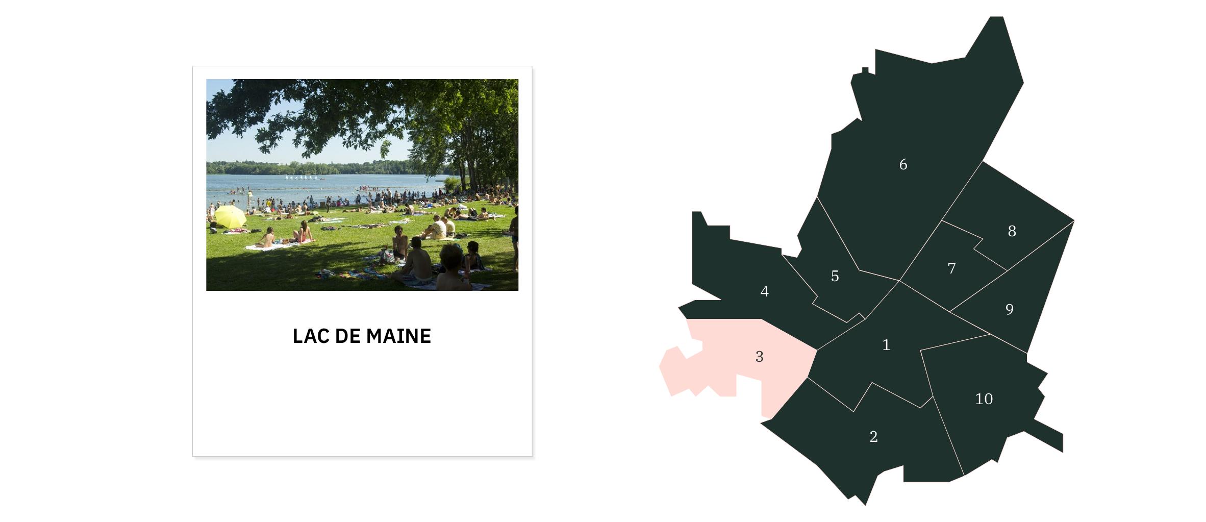 Lac de Maine⎜Carte des quartiers d'Angers