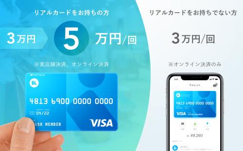 Kyashリアルカードをお持ちの方のご利用限度額を、1回あたり3万円から5万円へ引き上げました