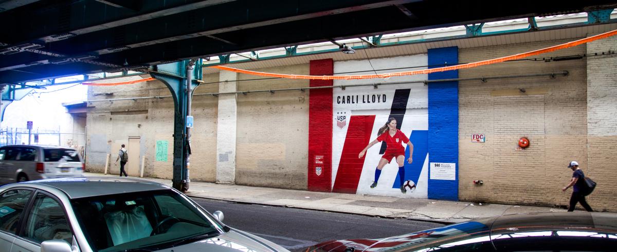 Public sports mural project in Philadelphia: Carli Lloyd