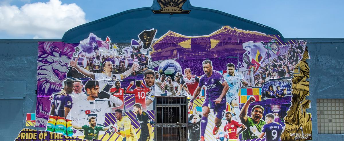 Public sports marketing collage mural in Orlando with Derek Gores