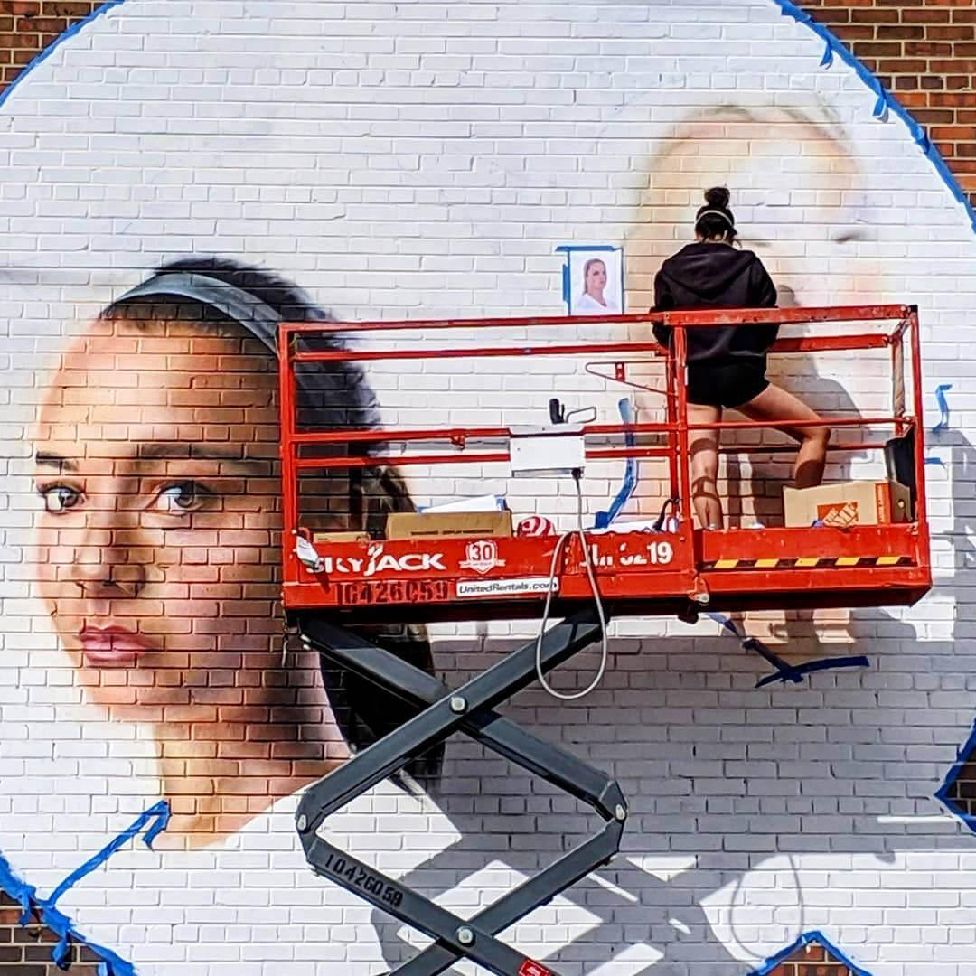 Public sports mural project in Denver Colorado: Mallory Pugh