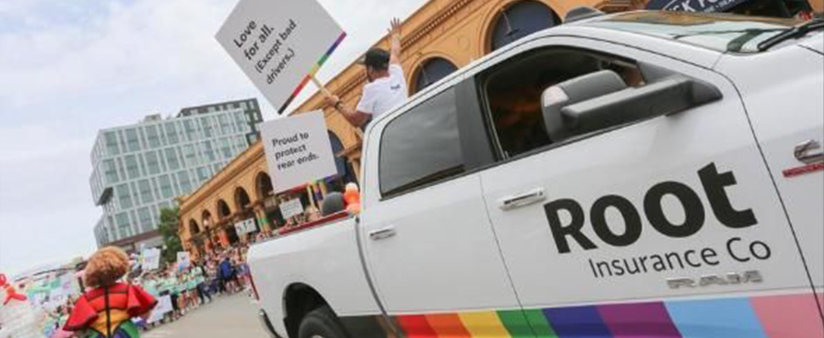 Brand vehicle with custom vinyl decal in Columbus Pride Parade