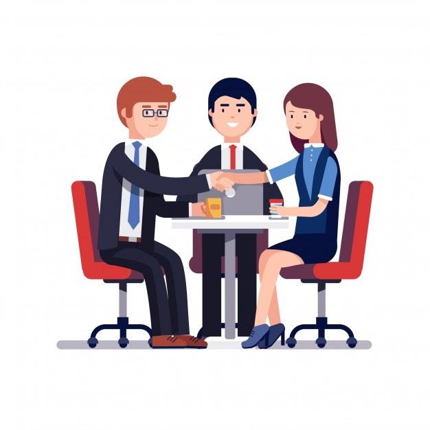 Réunion commerciale réussie ou entretien d'embauche Vecteur gratuit