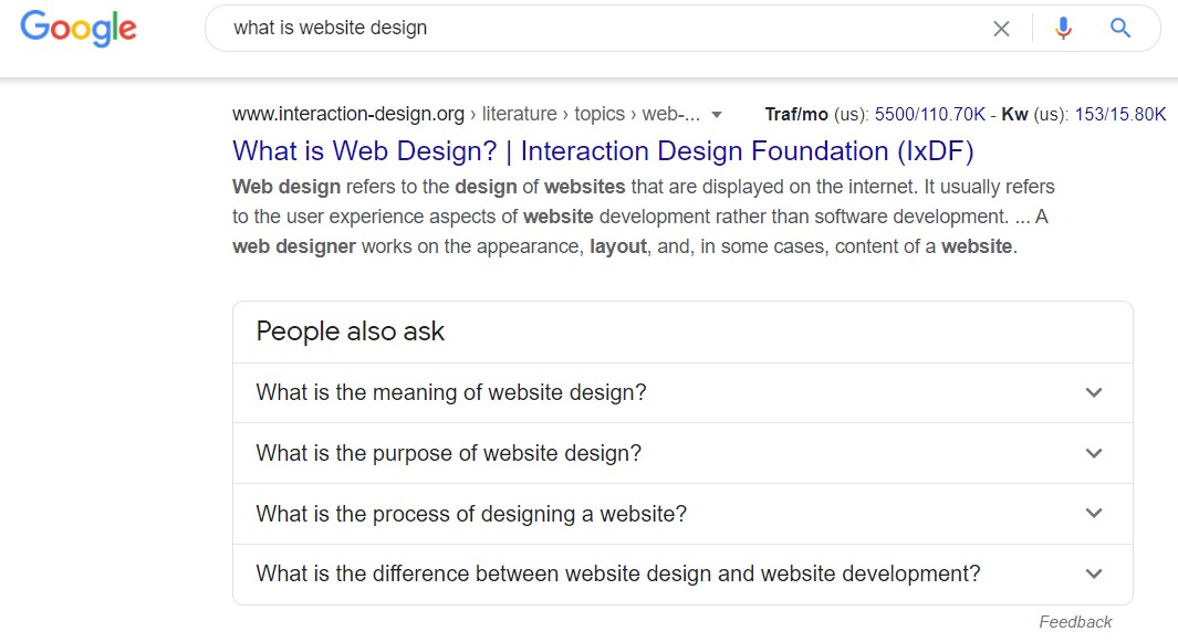 """screen grab of SERP for """"what is website design?"""""""
