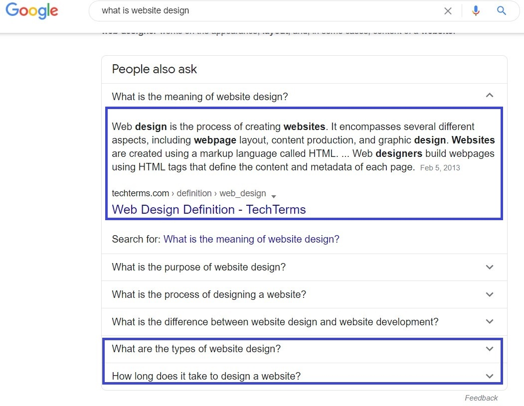 """screen grab of SERP for """"what is website design?"""" but with one drop-down option opened"""