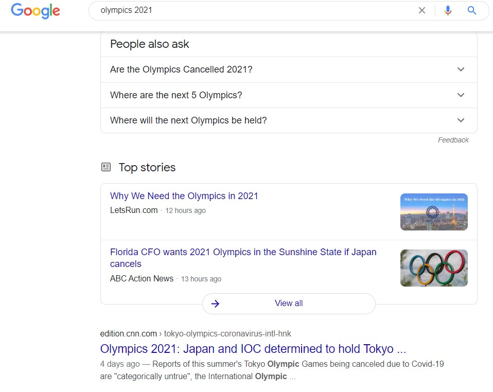 """rich SERP for """"Olympics 2021"""""""