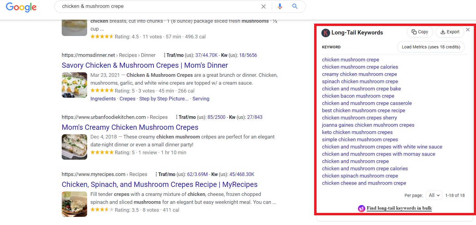 Search engine results page for chicken & mushroom crepe with Keywords Everywhere extension