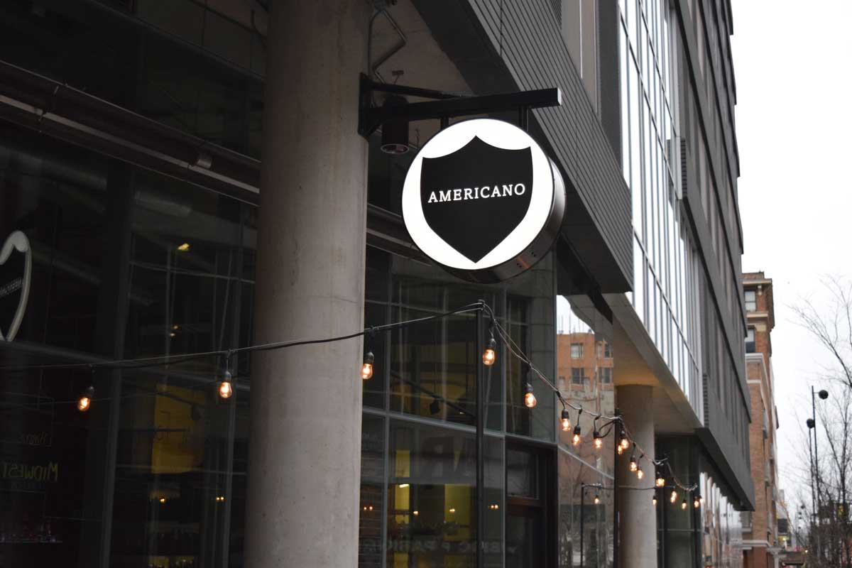 A trendy and simple sign design perfect for the modern city restaurant scene