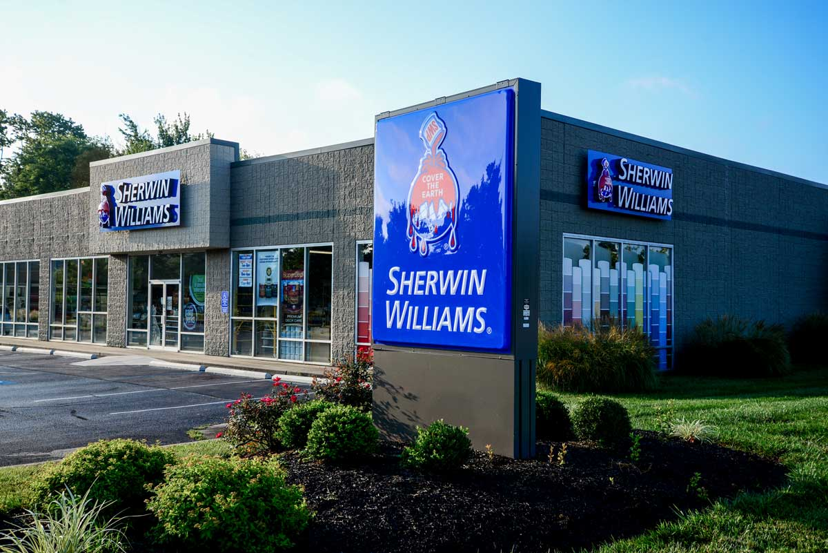 Complete sign package for one of many Sherwin Williams locations we've completed