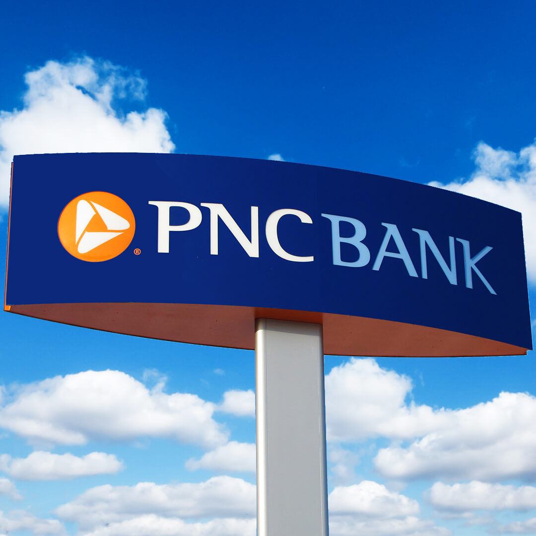 Custom fabricated PNC Pylon sign made with metal and acrylic.
