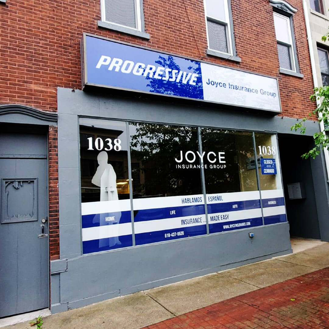 Progressive insurance flat face sign and window displays with custom franchise names