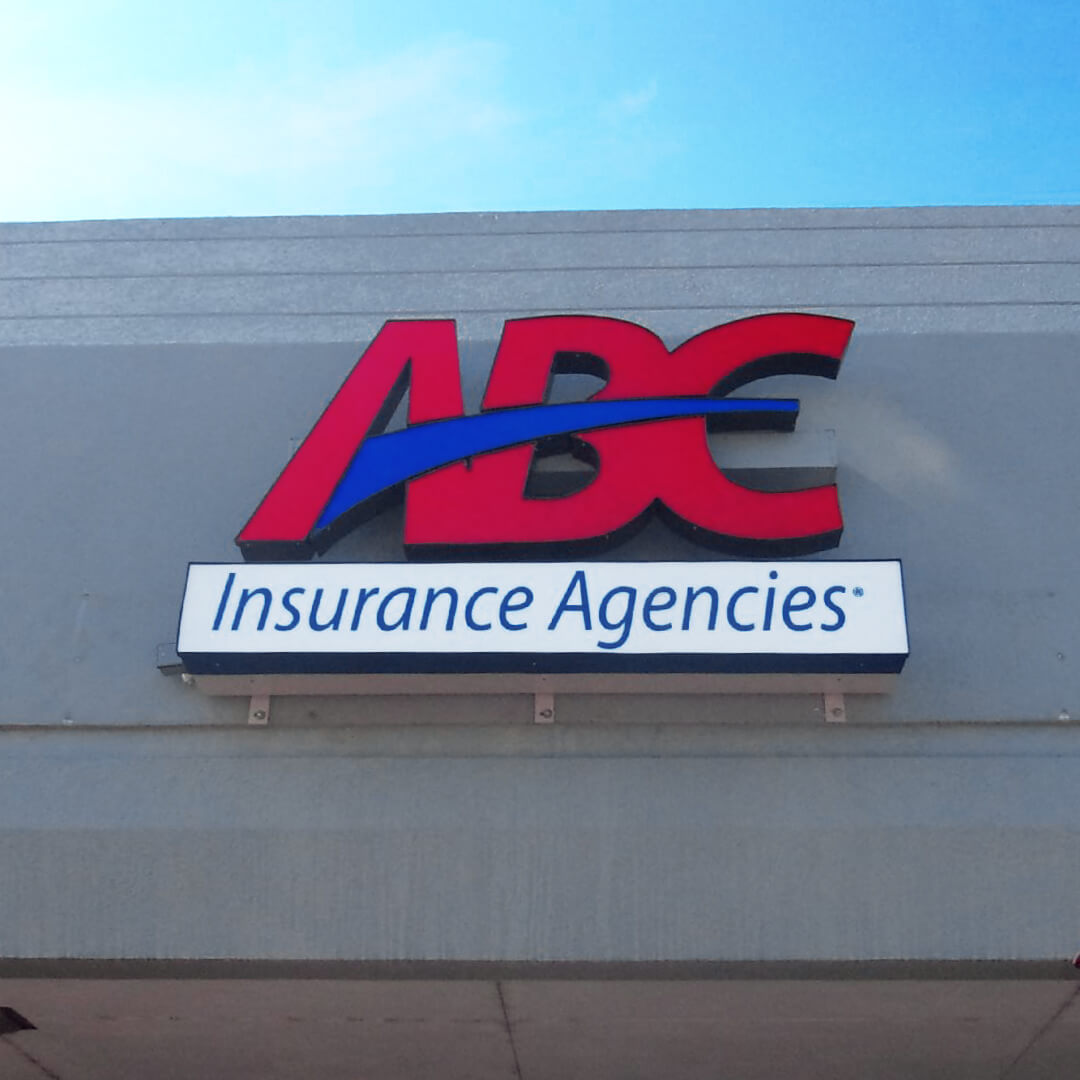Custom channel letter signage and LED illuminated Insurance Agencies sign upgrade