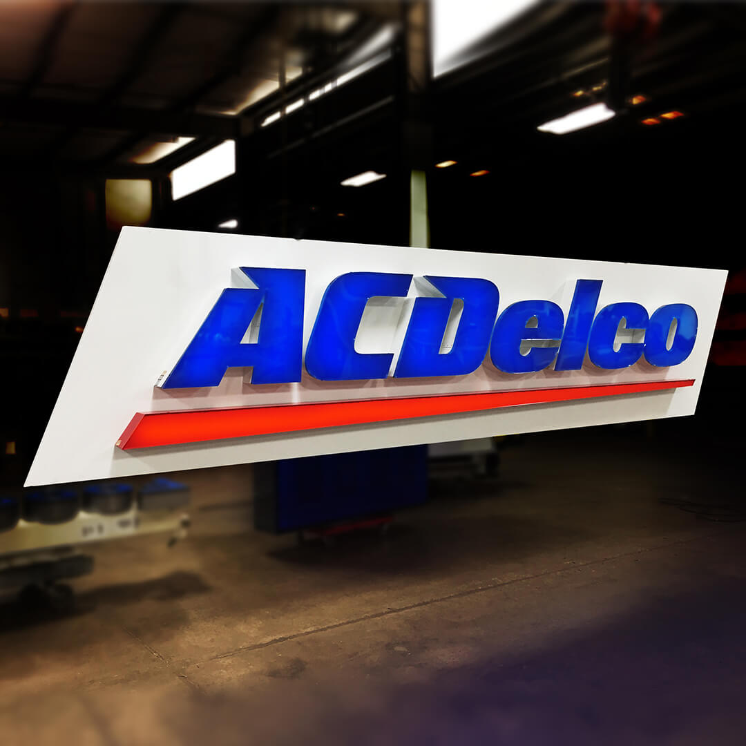 Custom made ACDelco sign expertly fabricated and illuminated with LEDs.