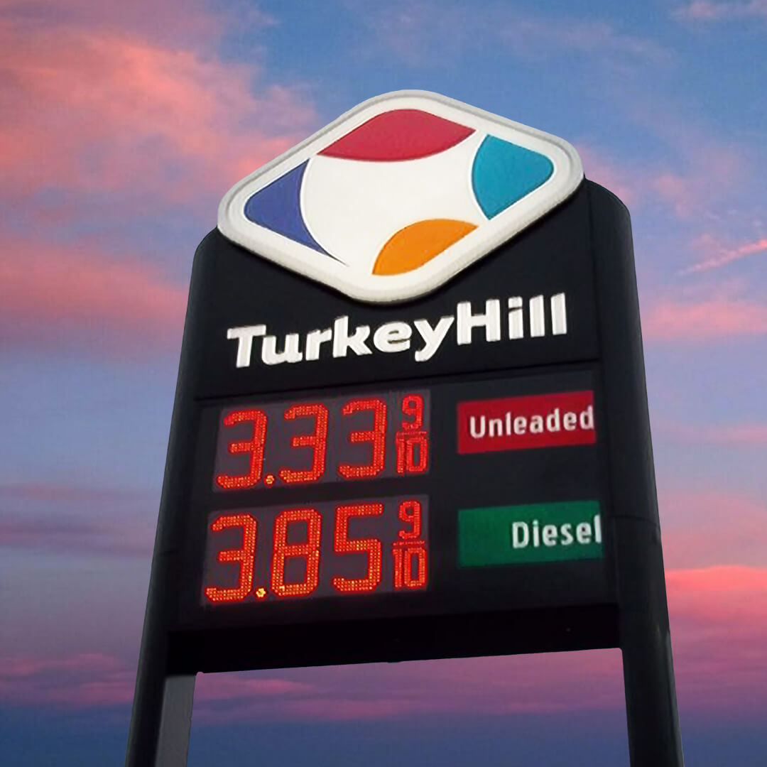 3D embossed TurkeyHill logo and gas pricer pylon sign