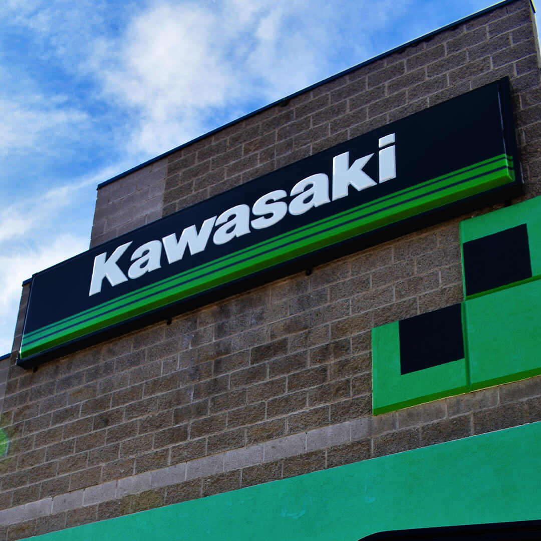 Thermoformed Kawasaki sign.