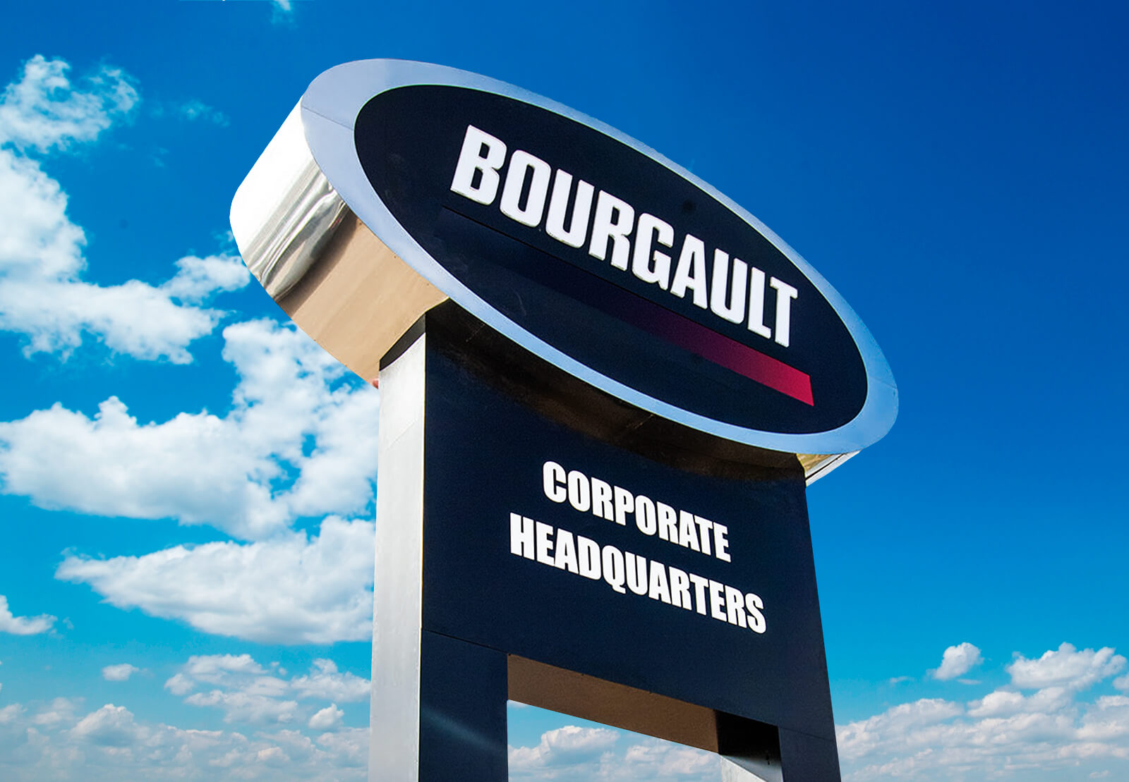 High rising pylon sign for the Bourgault Corporate headquarters.