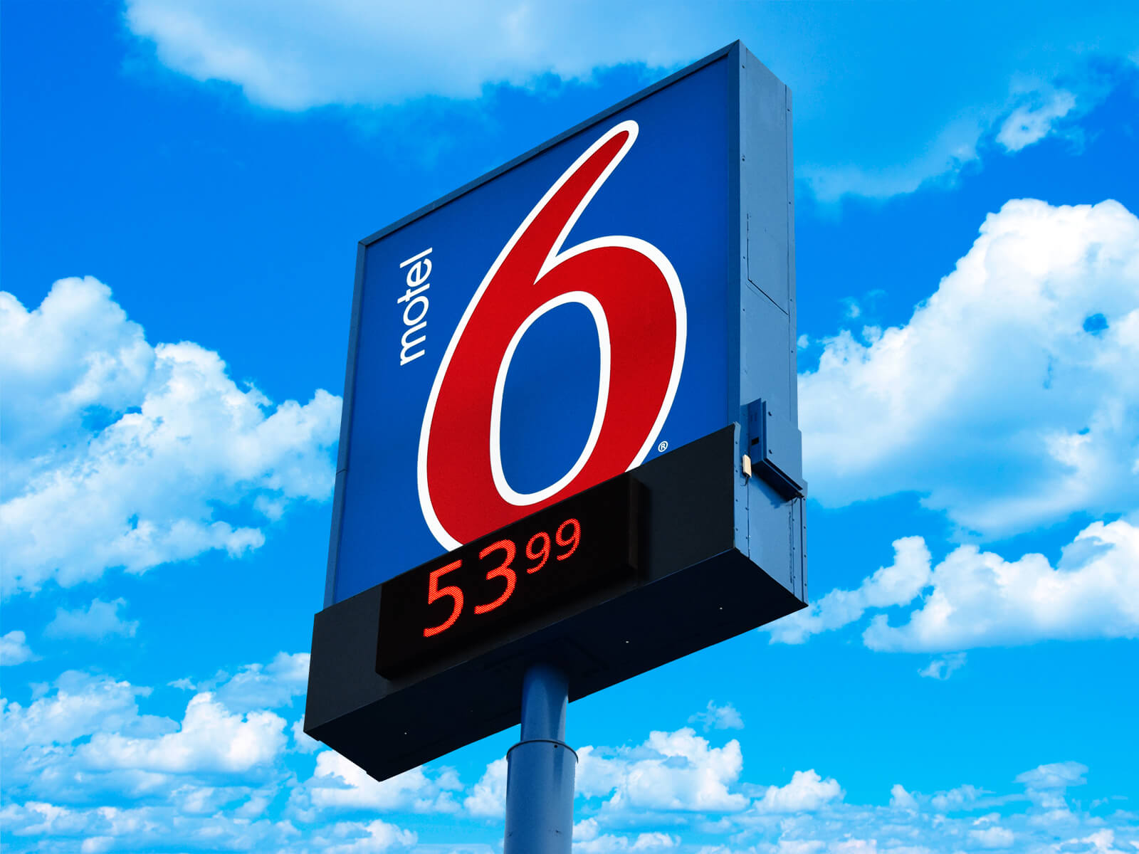 Motel 6 flex face pylon sign with an LED message and price display center.
