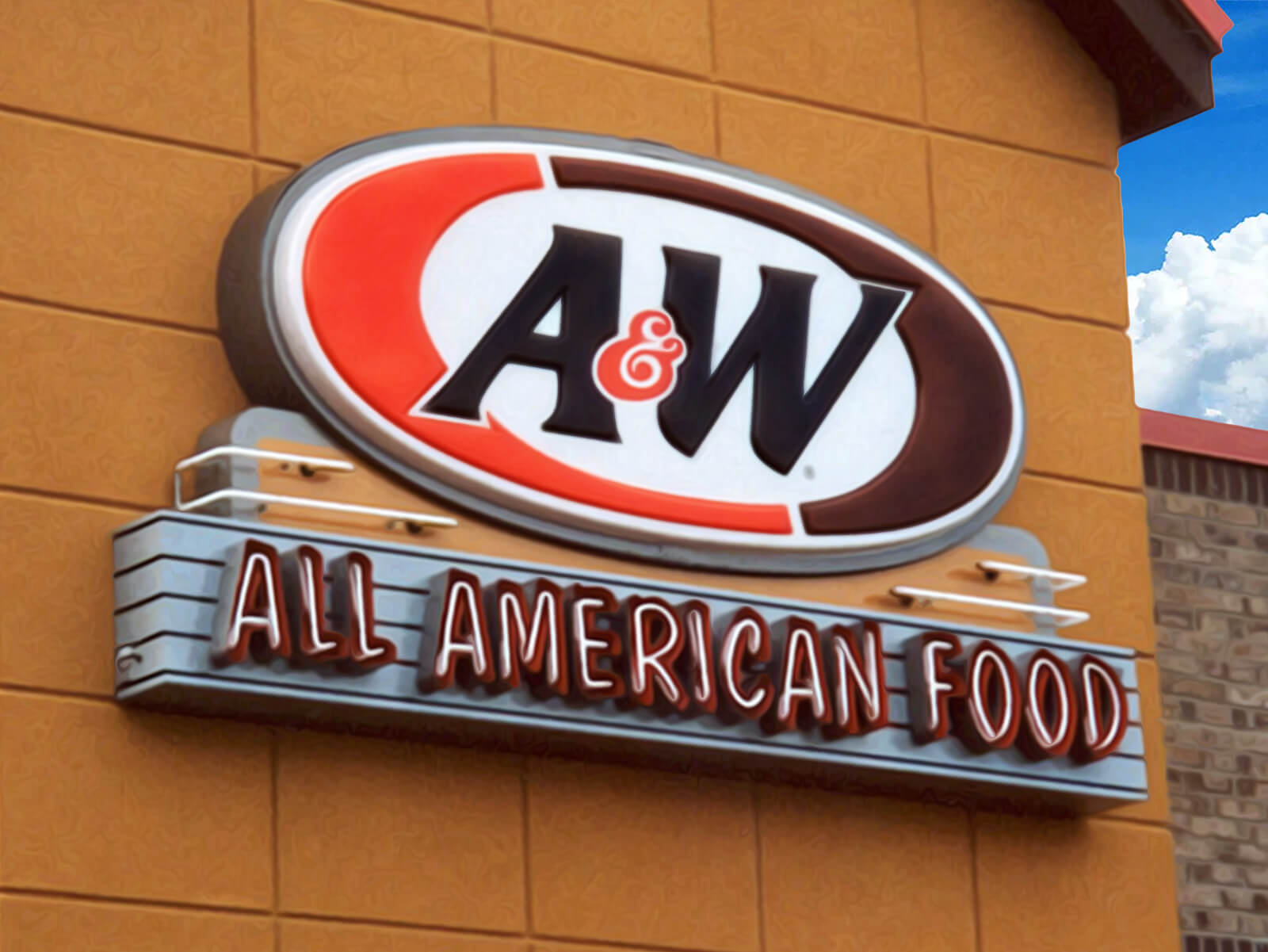 An all american made sign for an all american restaurant using a combination of modern thermoforming techniques with timeless neon lighting.