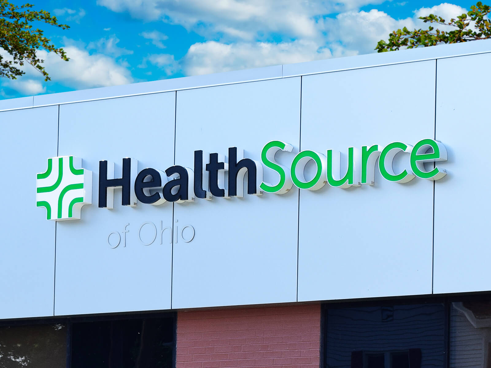 Channel letter and low profile signage for a HealthSource of Ohio clinic.