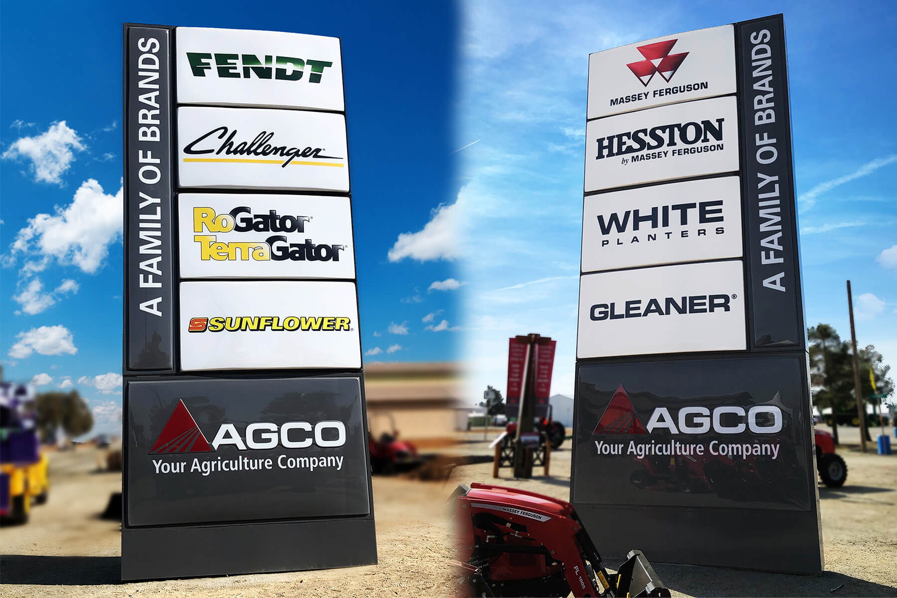 One of many AGCO totem signs that successfully displays multiple brands on two sides.
