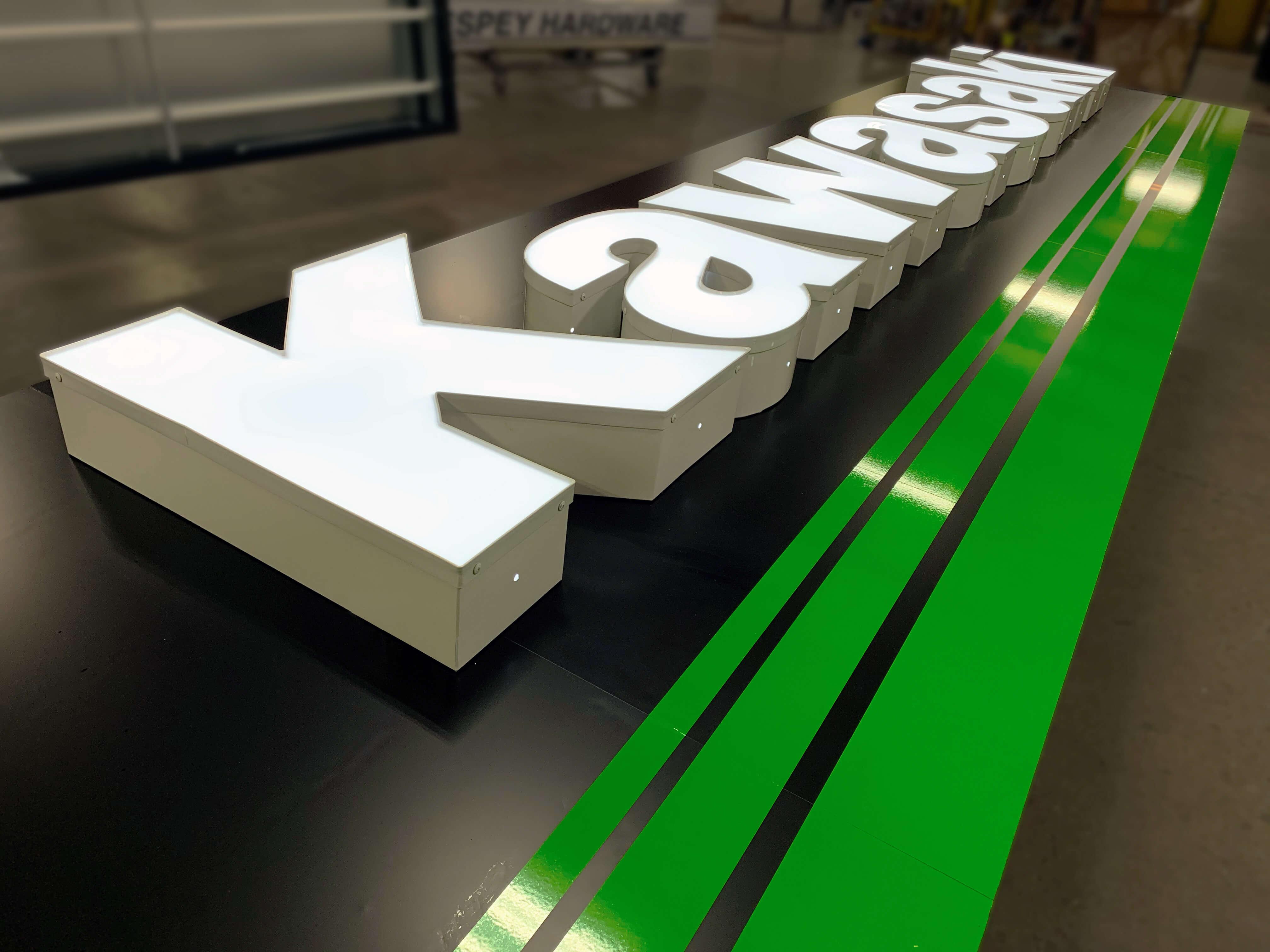 A large custom fabricated Kawasaki channel letter set.